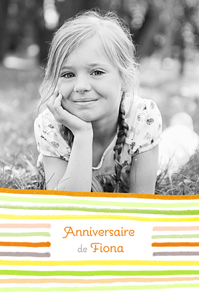 Carte d'anniversaire Dessin lignes orange finition