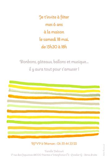 Carte d'anniversaire Dessin lignes orange