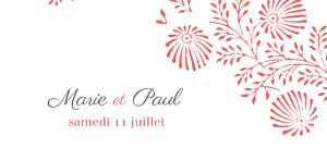 Marque-place mariage Idylle corail