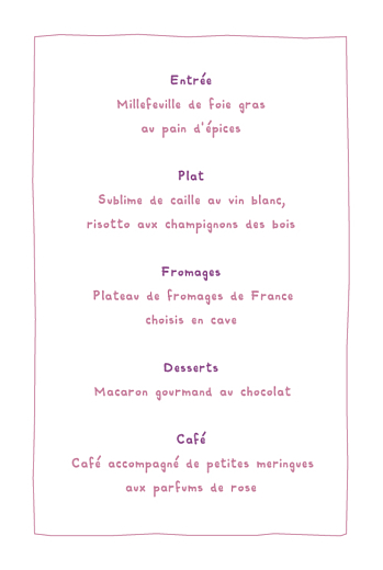 Menu de baptême Papillon photo prune - Page 3