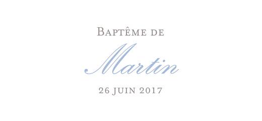 Etiquette de baptême Vichy bleu