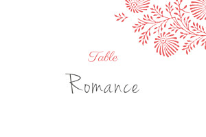 Marque-table mariage rose idylle corail