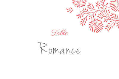 Marque-table mariage Idylle corail finition