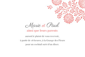 Carton d'invitation mariage rouge idylle (paysage) corail
