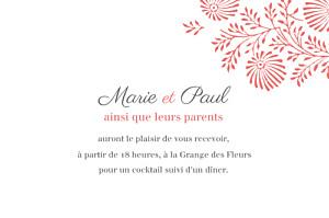 Carton d'invitation mariage Idylle (paysage) corail