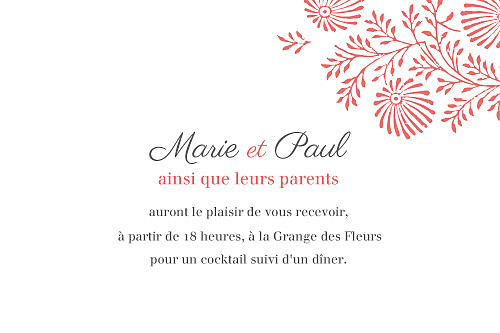Carton d'invitation mariage Idylle (paysage) corail - Page 1