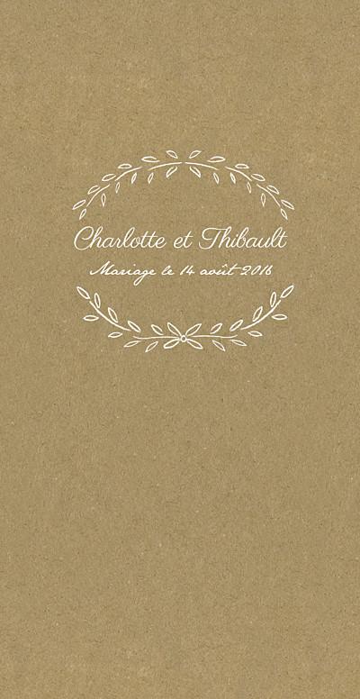 Menu de mariage Poème (4 pages) kraft finition