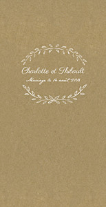 Menu de mariage kraft poème kraft