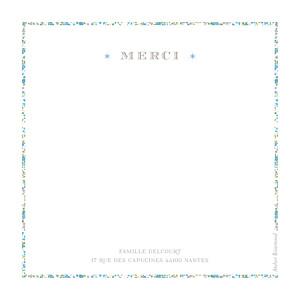 Carte de remerciement Merci liseré liberty bleu