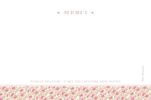 Carte de remerciement Ruban liberty photo rose