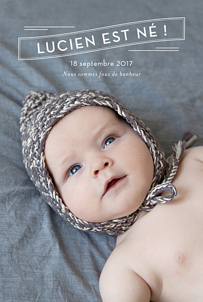 Faire-part de naissance L'annonce (5 photos) blanc finition