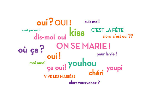 Carton d'invitation mariage Dis moi oui ! orange & violet