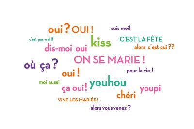 Carton d'invitation mariage Dis moi oui ! orange & violet finition