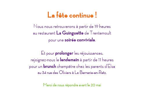 Carton d'invitation mariage Dis moi oui ! orange & violet - Page 2