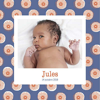 Faire-part de naissance Wax orange & bleu finition