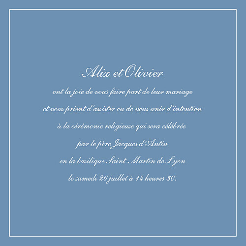 Faire-part de mariage Chic liseré bleu
