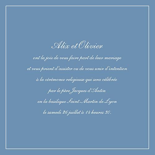 Faire-part de mariage Chic liseré bleu - Page 3