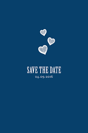 Save the Date Coeurs bleu marine