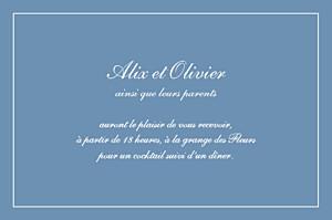 Carton d'invitation mariage Chic liseré bleu