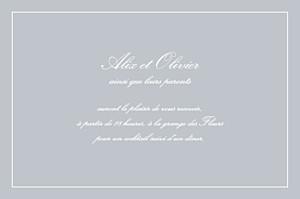 Carton d'invitation mariage gris chic liseré gris clair