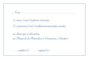 Carton réponse mariage Chic liseré bleu