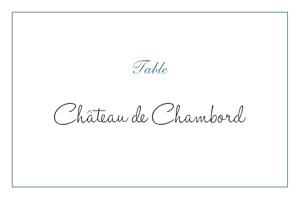 Marque-table mariage Chic liseré bleu