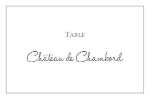 Marque-table mariage gris chic liseré gris foncé