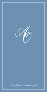 Menu de mariage Chic liseré bleu