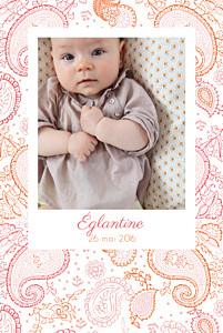 Faire-part de naissance Paisley portrait rose & orange