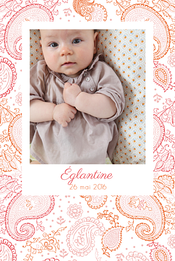 Faire-part de naissance Paisley portrait rose & orange