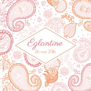 Faire-part de naissance Mini paisley photo rose & orange