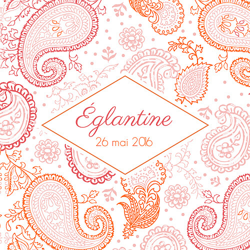 Faire-part de naissance Mini paisley photo rose & orange