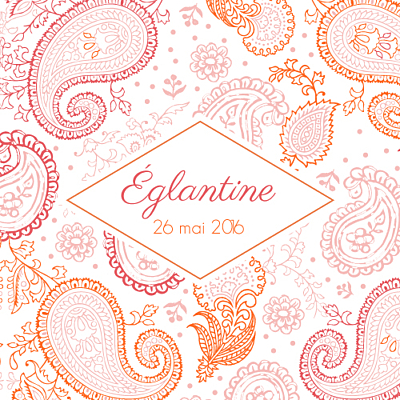 Faire-part de naissance Mini paisley photo rose & orange finition