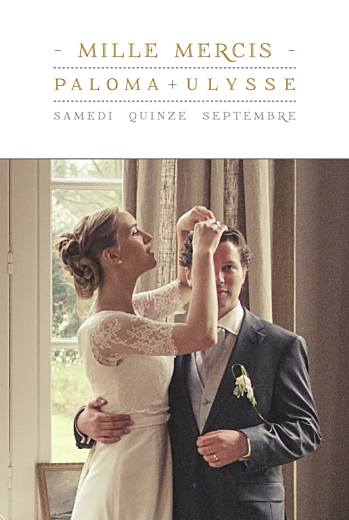 Carte de remerciement mariage La vie est belle ! blanc