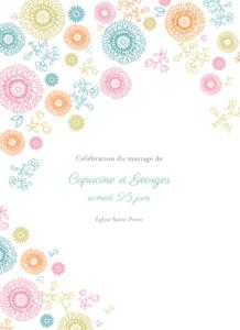 Livret de messe mariage Champêtre multicolore