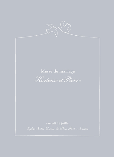 Livret de messe mariage Colombe gris