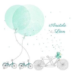 Faire-part de naissance vert à bicyclette jumeaux photos vert