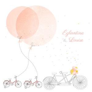 Faire-part de naissance À bicyclette jumeaux photos corail