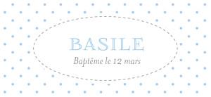 Etiquette de baptême Pois chics bleu
