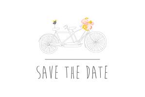 Save the date jaune tandem rose ocre