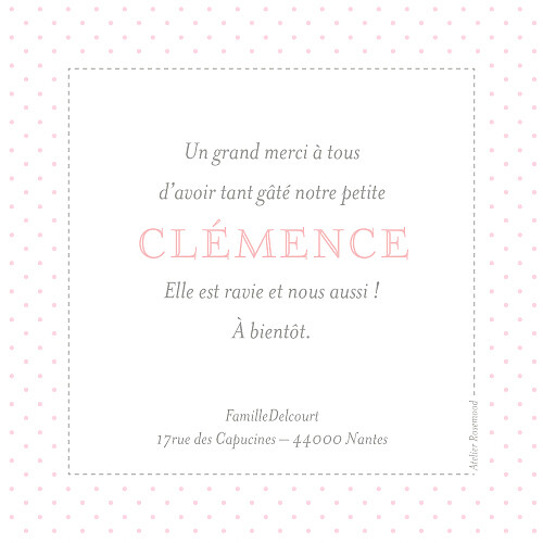 Carte de remerciement Merci pois chics photo rose - Page 2