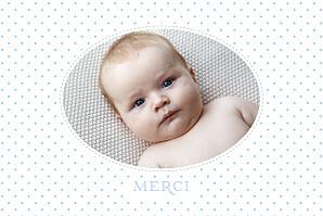 Carte de remerciement baptême merci pois chics paysage photo bleu