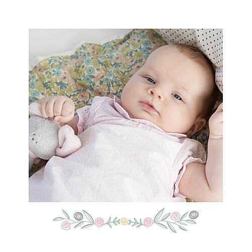 Faire-part de naissance Douceur champêtre photo blanc