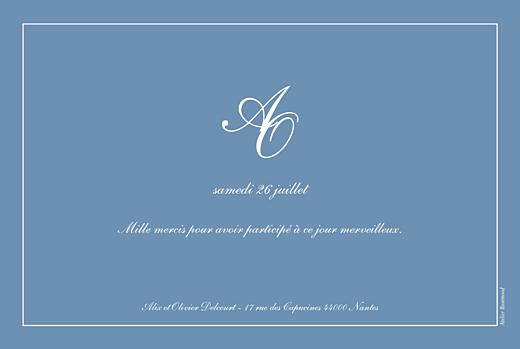 Carte de remerciement mariage Chic liseré bleu - Page 2