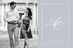 Save the date gris chic liseré gris clair