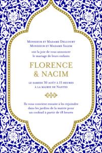 Faire-part de mariage Byzance bleu