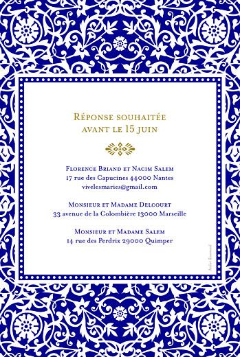 Faire-part de mariage Byzance bleu - Page 2