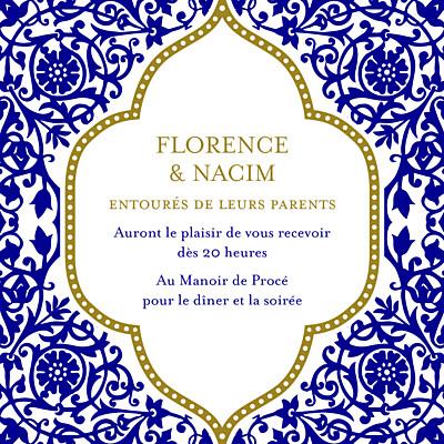 Carton d'invitation mariage Byzance bleu finition