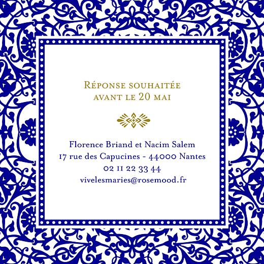 Carton d'invitation mariage Byzance bleu - Page 2