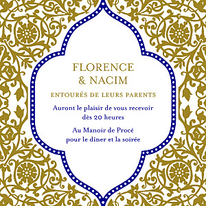 Carton d'invitation mariage marron byzance doré